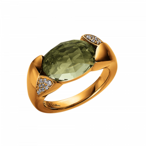 Elaine Firenze Ring Gelbgold Brillanten Quarz mint