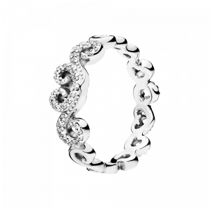 Pandora, Love, Ring Heart Swirls, 197117CZ-54