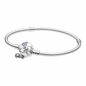 Pandora, Promise of Spring, Armband Moments Silver Bracelet, Wildflower Meadow Clasp, 597124NLC-20
