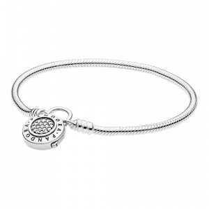Pandora, Signature, Armband Moments Smooth Silver Bracelet, PANDORA Signature Padlock, 597092CZ-18